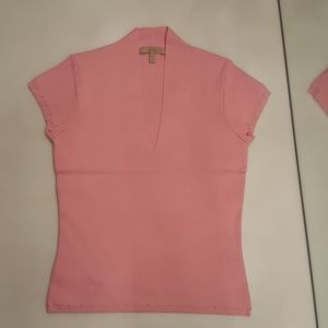 EASE PINK SHORT SLEEVE STRETCH KNIT TOP - WORN ONC